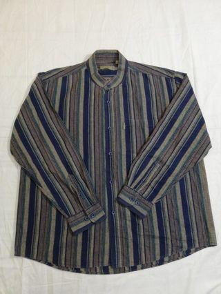 Ngu古著  Markmartom 中山領純棉條紋襯衫