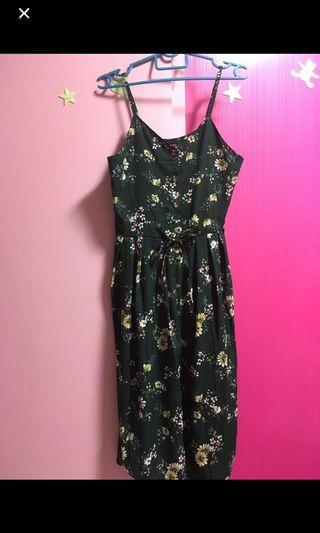 Green floral maxi dress skirt