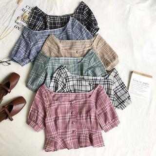 [PO] Ulzzang Plaid Button Up Ruffle Top