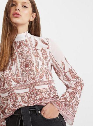 MISS SELFRIDGE Paisley Funnel Neck Blouse NEW