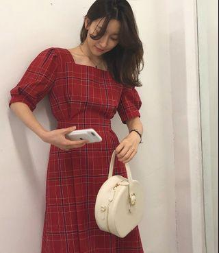Korean red dress