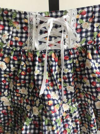 Navy checked fruits print layered lolita skirt
