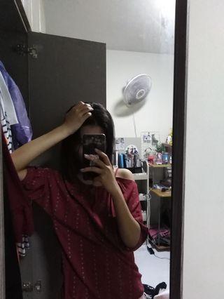 Red Ulzzang top shirt