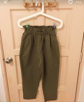 Army Green High Waisted Long Pants