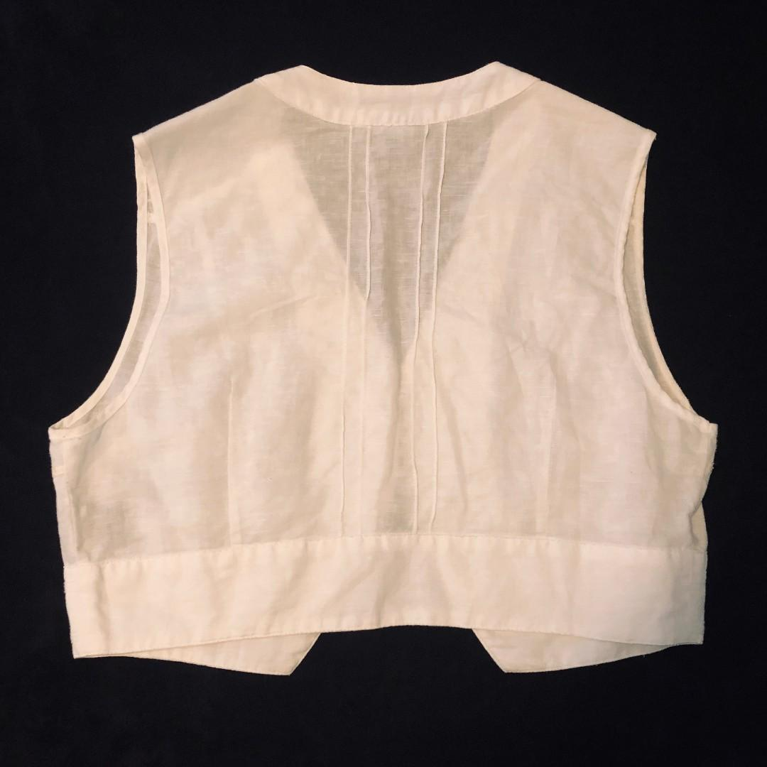 2x WITCHERY tops or vests size M 12 navy blue and white