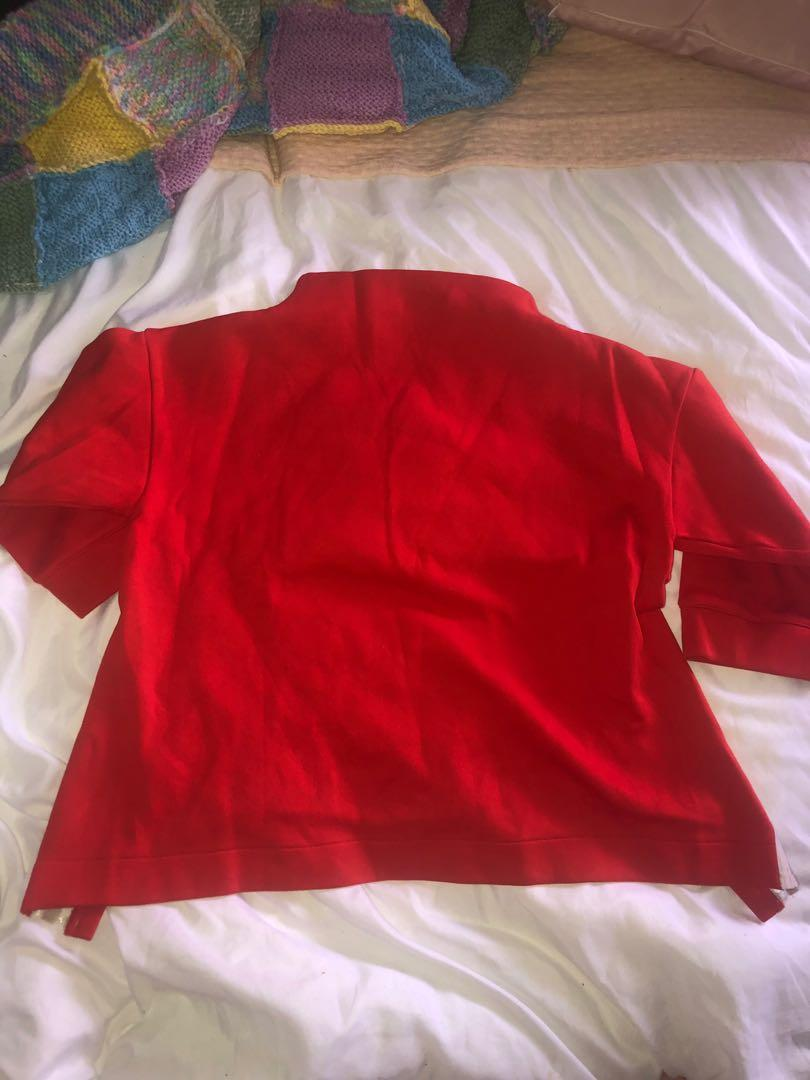 Adidas 3/4 Sleeve Bright Red Crop High Neck Sweatshirt Jumper Size 8