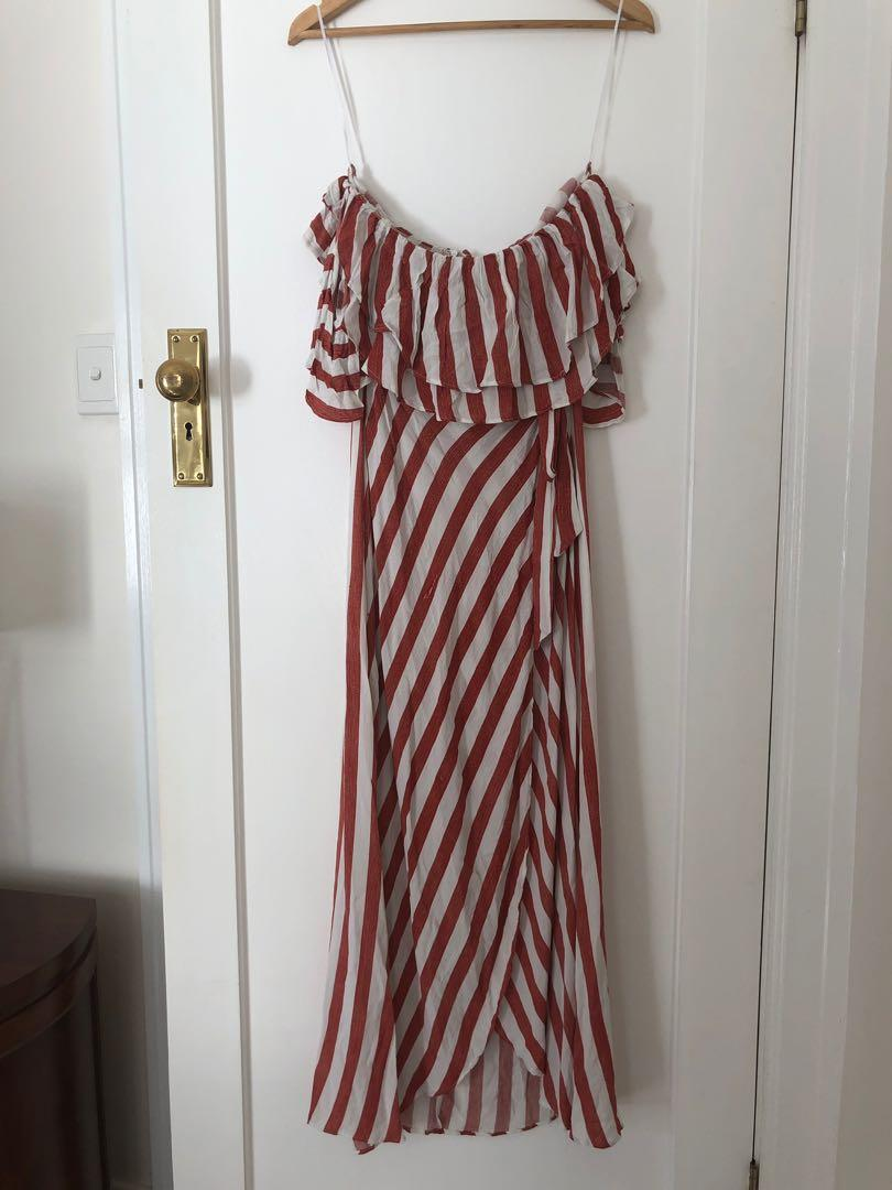Angel Biba Orange Striped Maxi Dress Size 10 New with tags