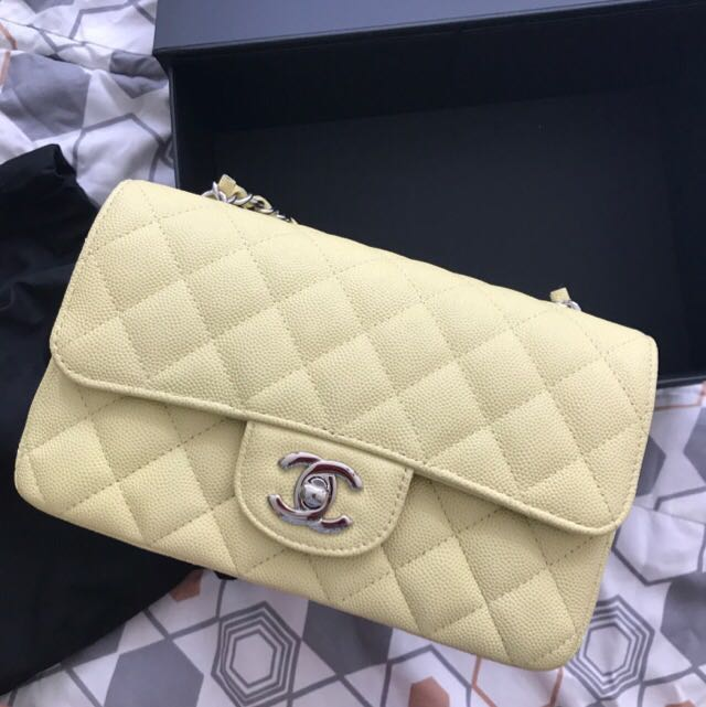 766ef5bf89cc Authentic Chanel Bag mini flap bag limited colour in pastel yellow ...