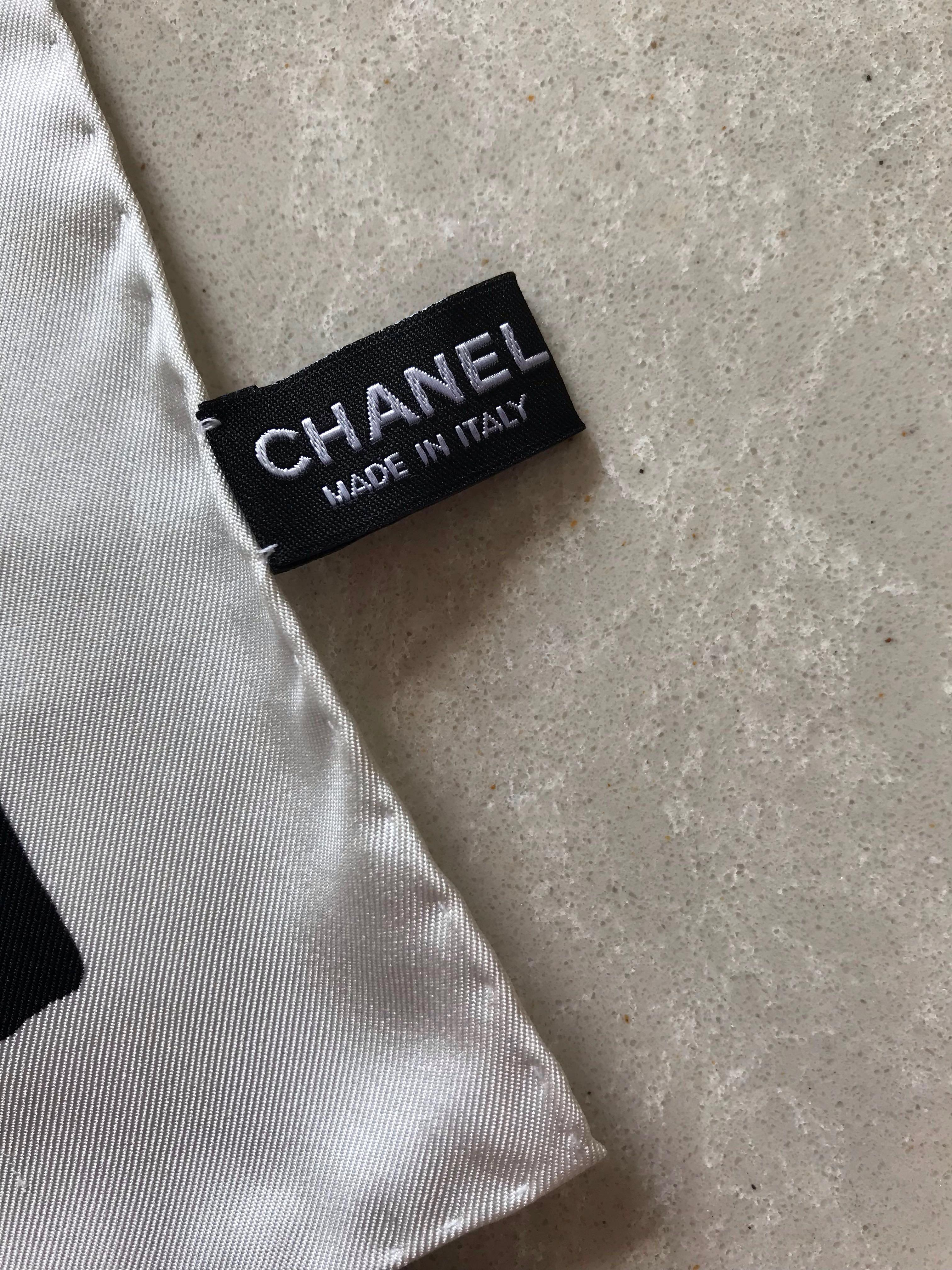 Authentic Chanel Square Silk Scarf - Black & White with signature logo (Complimentary registered mail!)