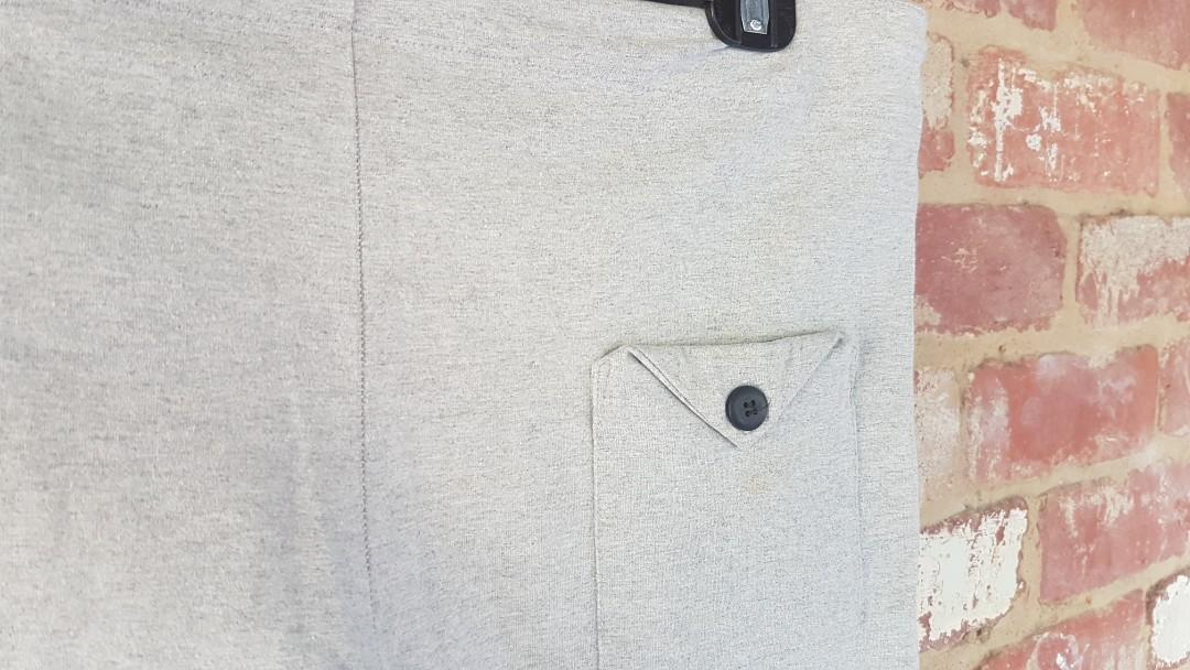 Bassike Track Pants Skinny Drop Crotch M Cotton Grey RP $299