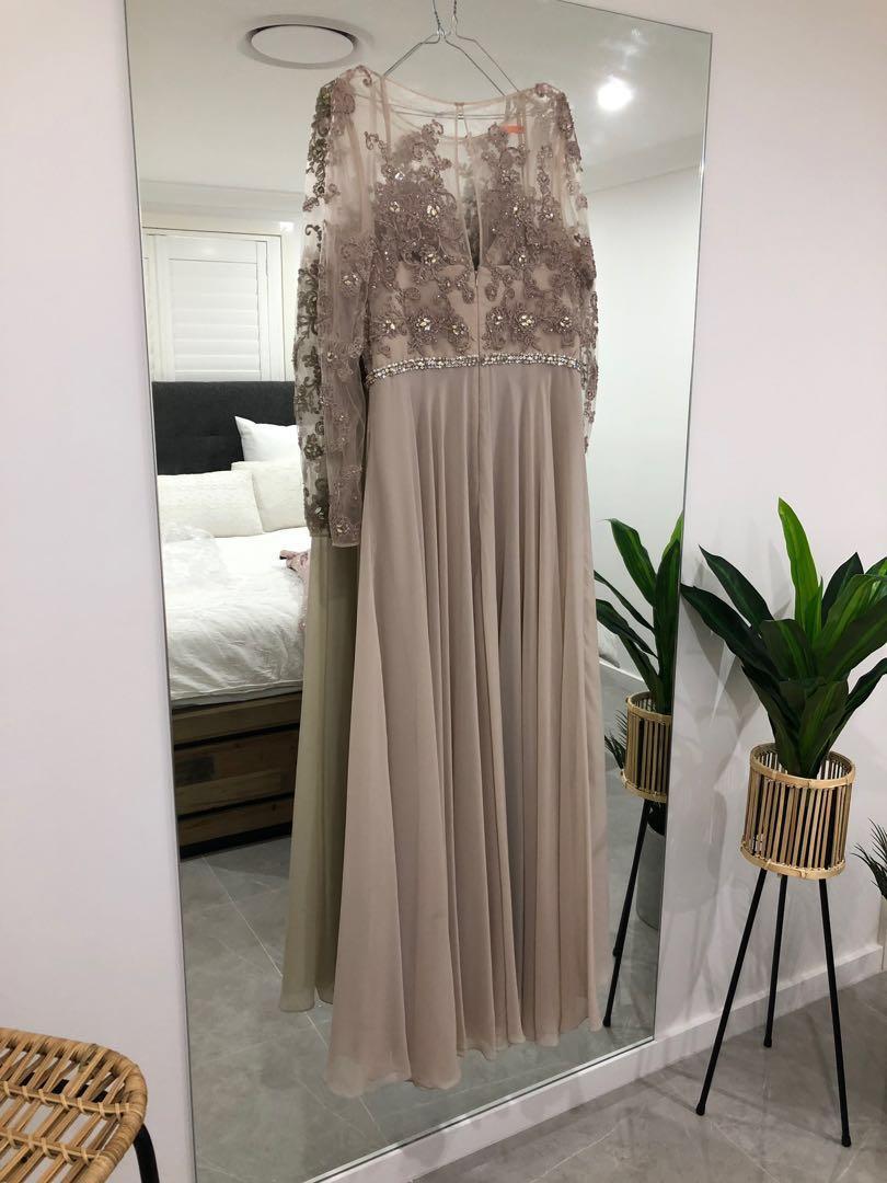Beaded Terani Couture Evening Nude