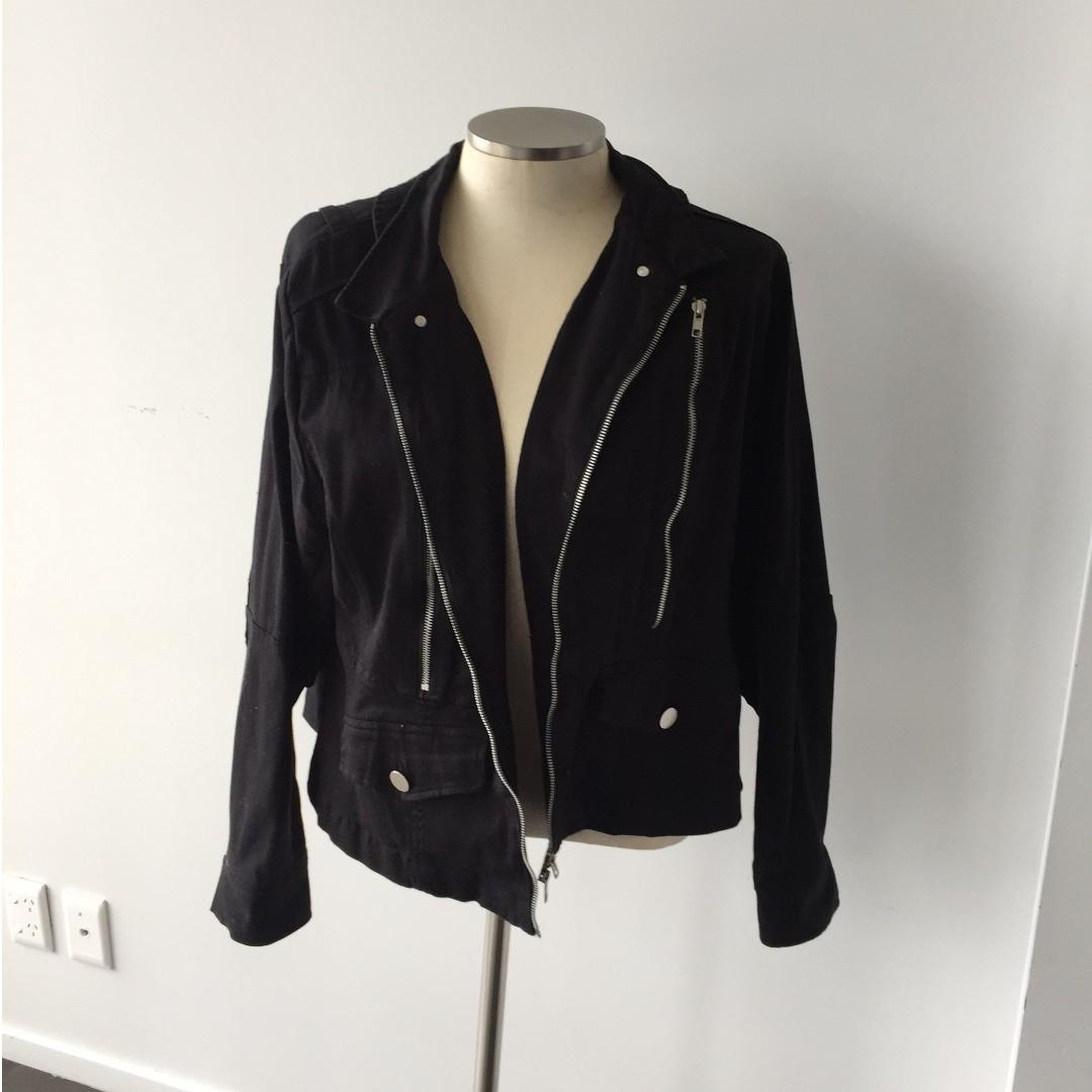 BLACK AND SILVER MOTOR JACKET WITH ZIP DETAIL