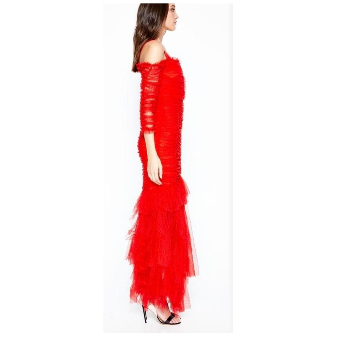 BNWT ALICE MCCALL SCARLET UNFORGETTABLE GOWN - SIZE 4 AU (RRP $790)