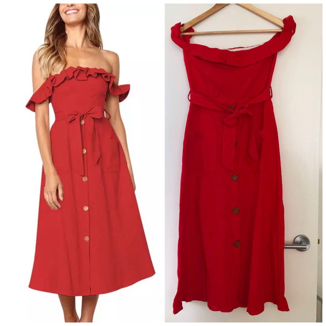 Brand new off the shoulder red front button down dress with ribbon tie