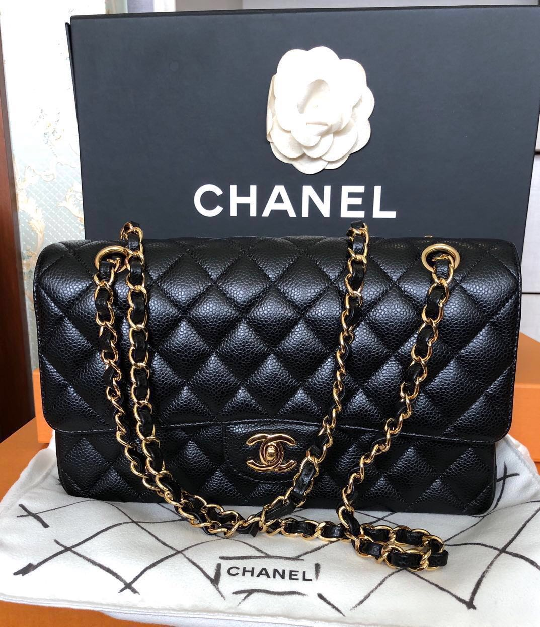 fe7d5cec397b Chanel Medium Classic Double Flap Cavier Gold hardware 19 series ...
