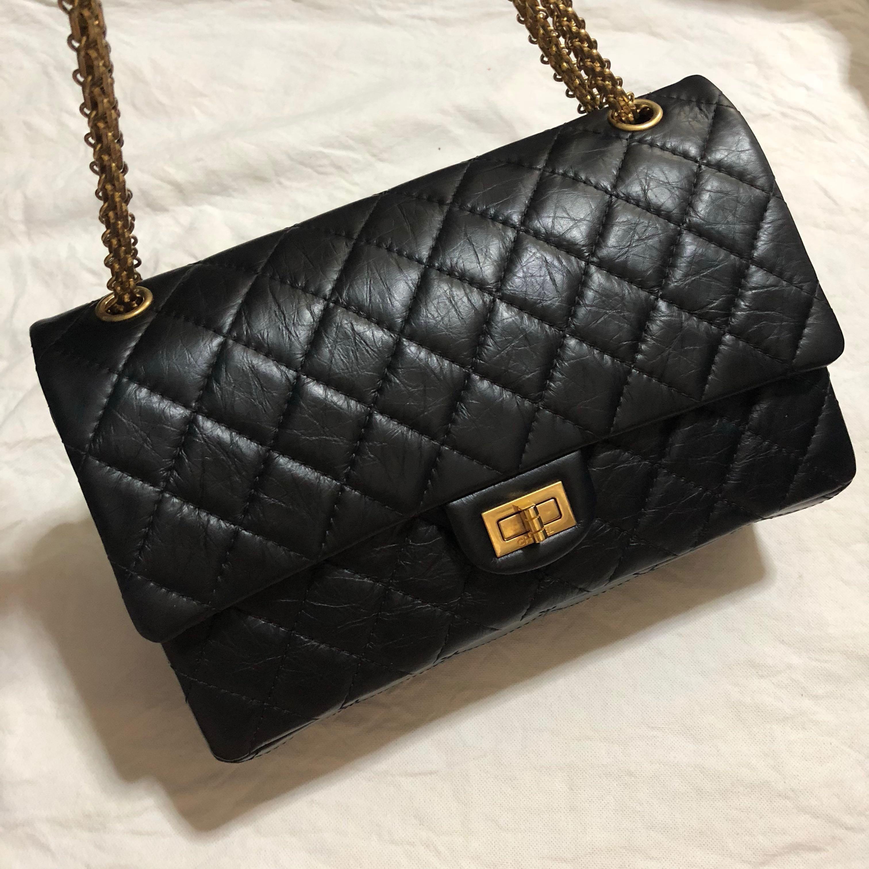 eafa800dca4b04 Chanel Reissue Medium Large 226 Quilted Flap Bag Black Gold Hardware