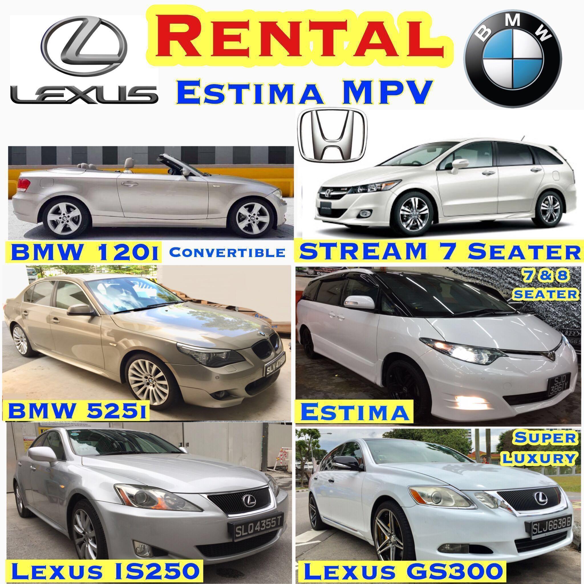 Cheapest Car To Lease >> Cheapest Car Rental Lease Estima Mpv 69 Vezel Hybrid 69 Honda Accord 49 Stream 49 Lexus Is250 59 Lexus Super