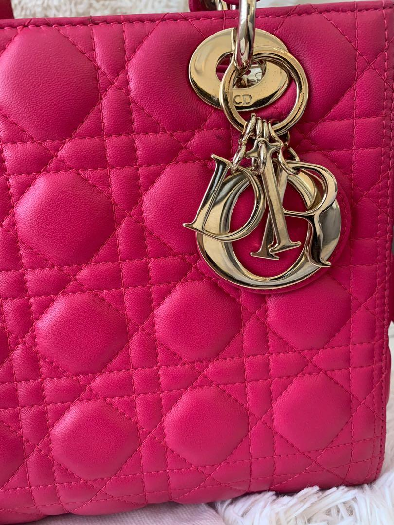 Christian Dior Lady Dior fuchsia Pink Lambskin leather size M
