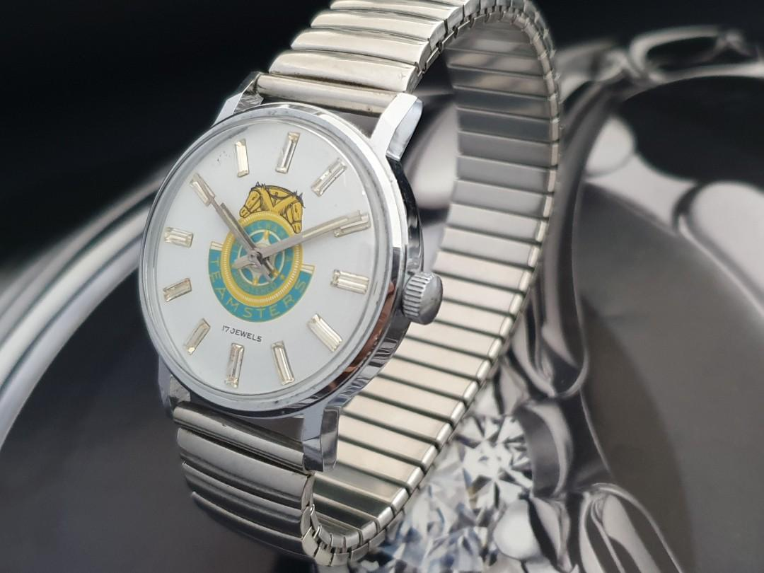 classy vintage 1960s manual wind racing 2 headed horses logo dial with Crystals mens mechanical watch