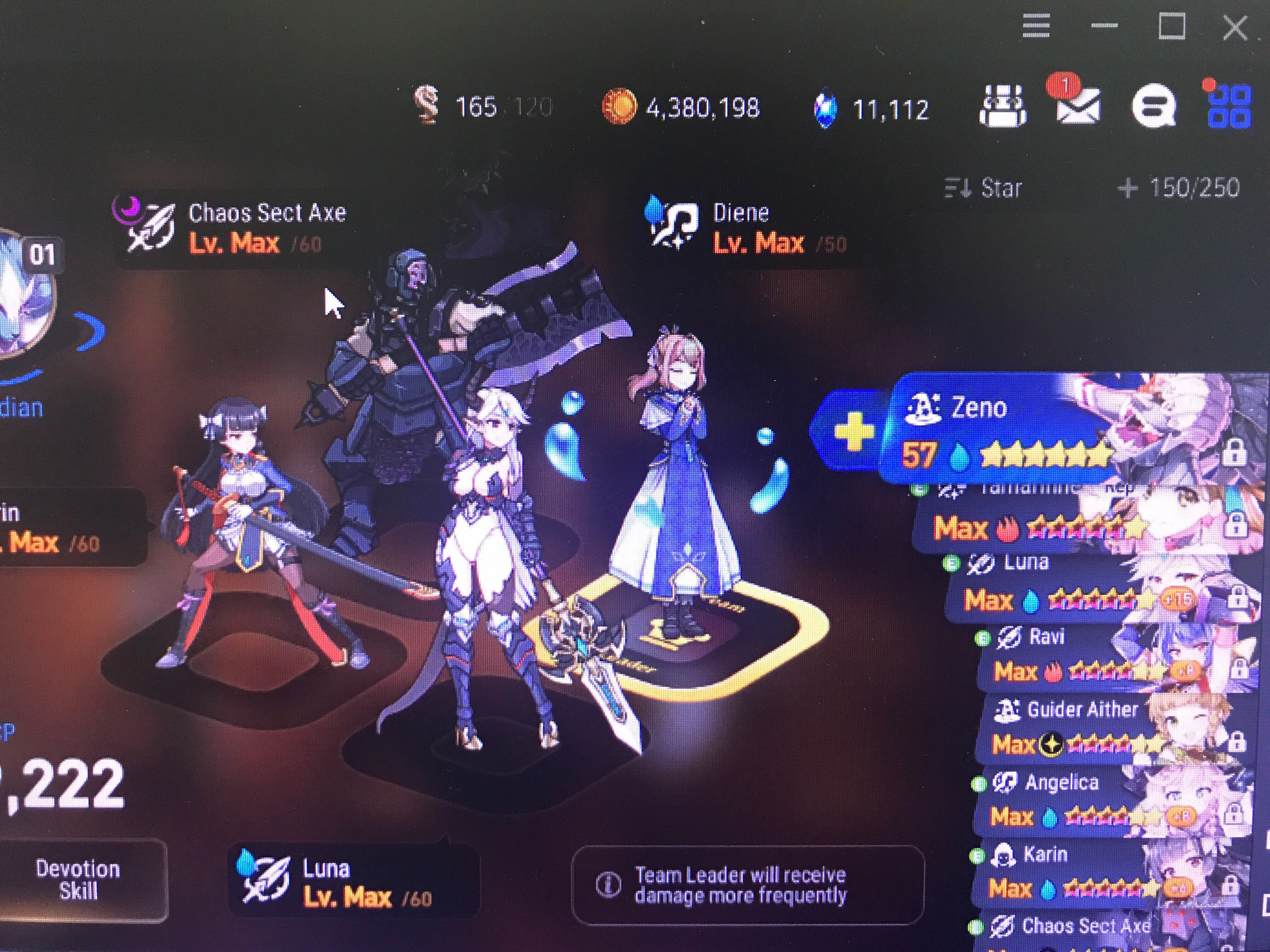 Epic 7 account with DIENE, LUNA & ANGELICA