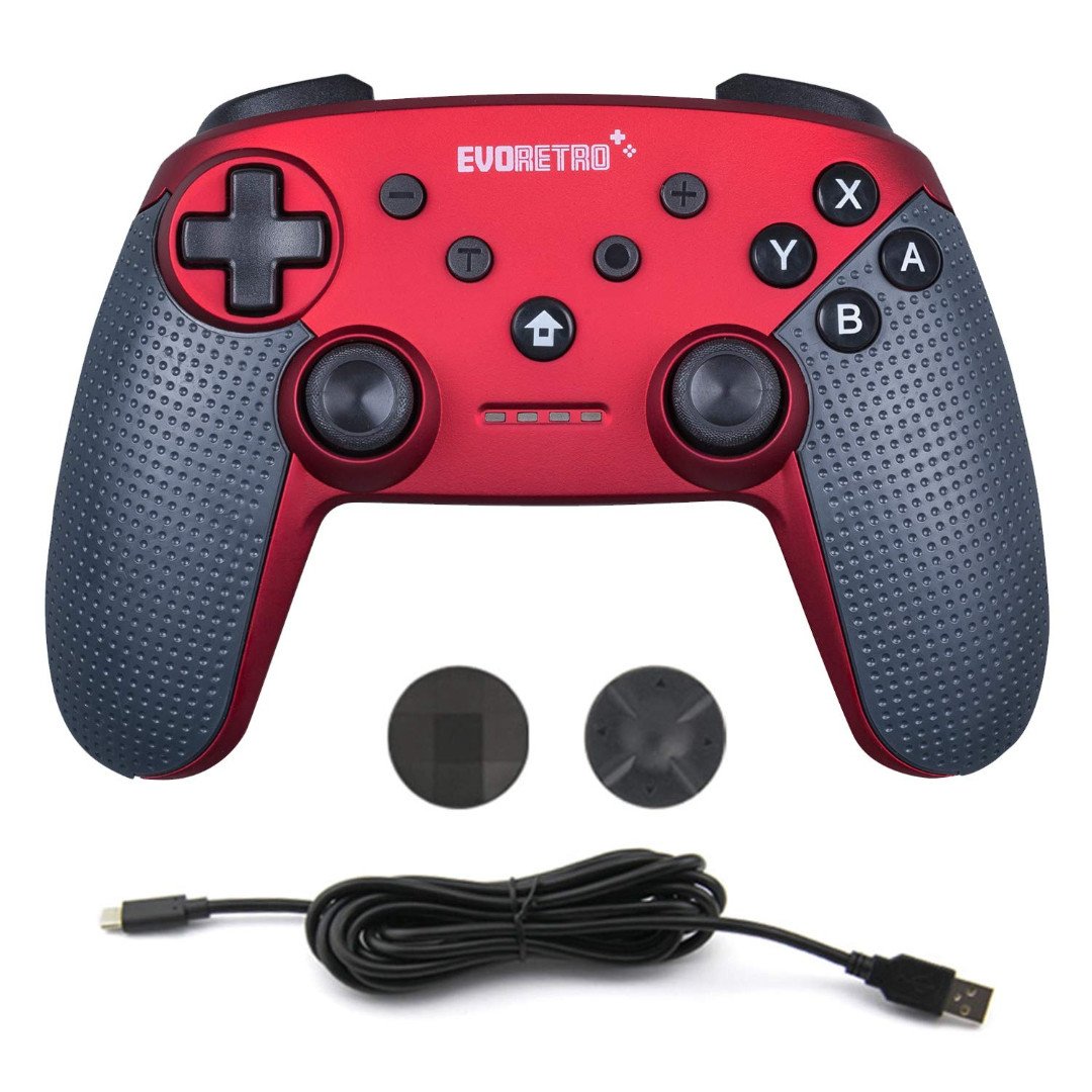 EVORETRO Switch Pro Controller Wireless Bluetooth Accessories - Compatible  with Nintendo Switch Console PC Gamepad Joypad Remote with Gyro Axis (Turbo