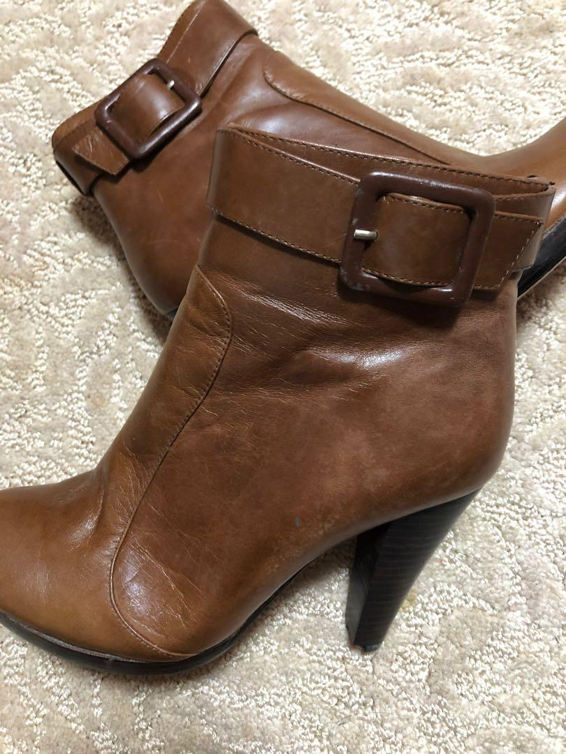 Faux brown leather boots