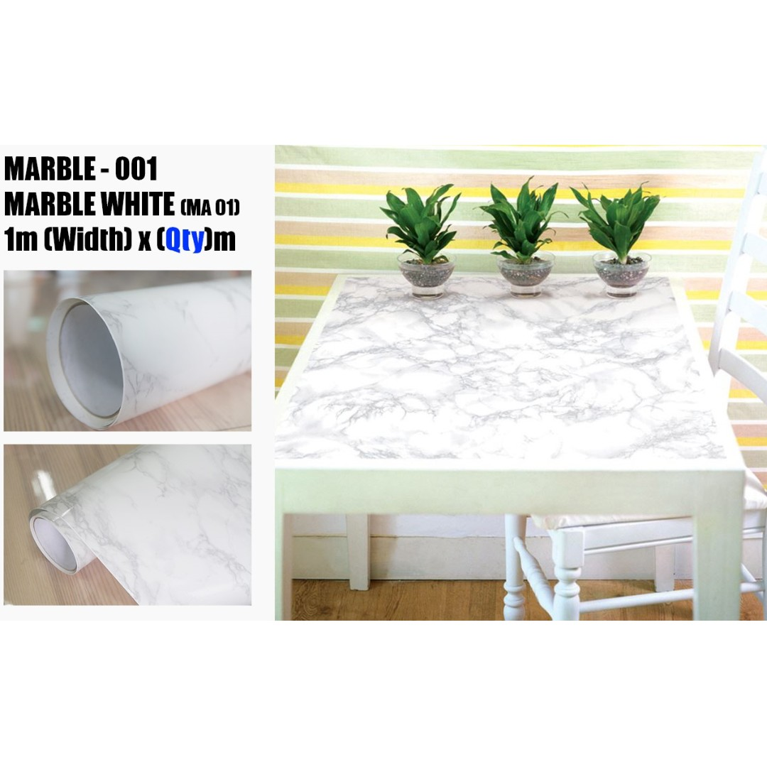 Glossy Marble Wall Design Wallpaper Cabinet Sticker Furniture