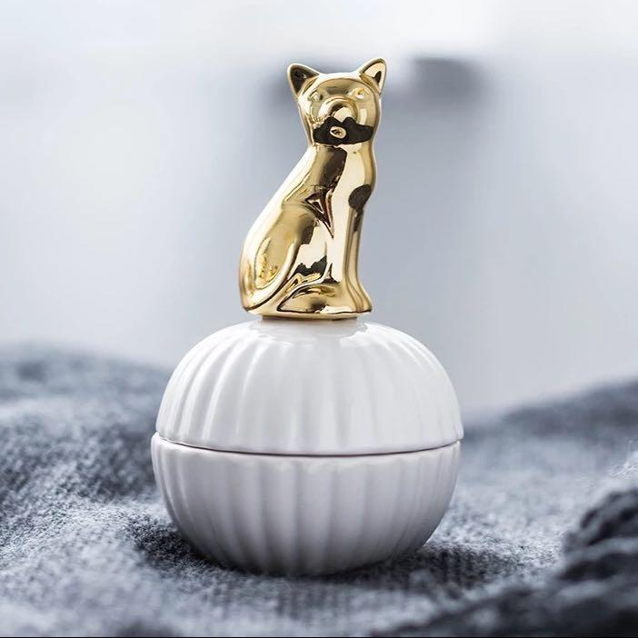 Gold ceramic jewelry box tray