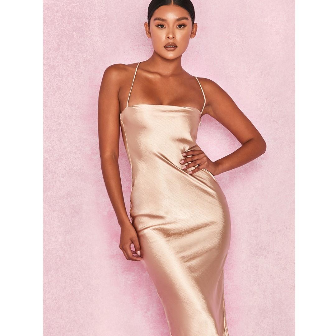 House of CB JULIETA Champagne Satin Slip Dress BNWT