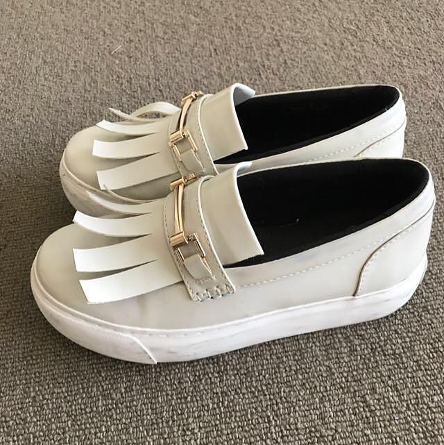 Japan Snidel Light Grey Leather Platform Loafer