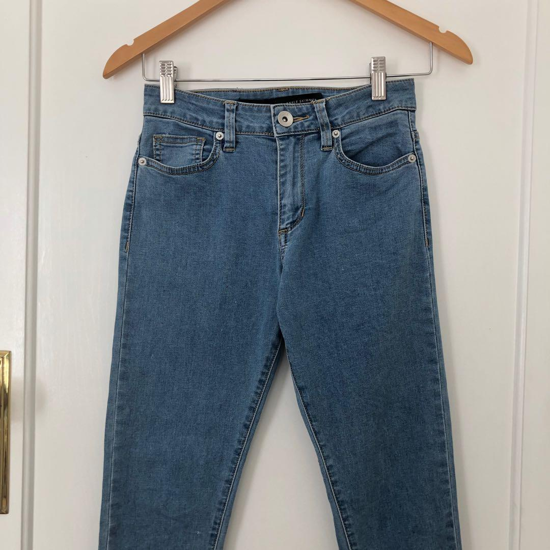 Lee Riders High Rise Blue Ankle Shimmer Jeans Size 8