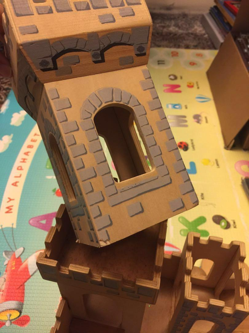 Melissa Doug Medieval Wooden Folding Castle And Play Figures Toys
