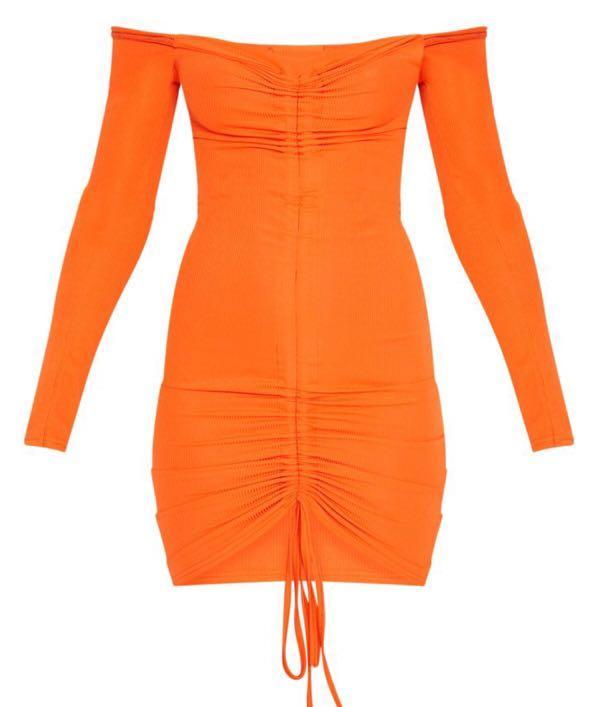 Orange Ribbed Long Sleeve Bardot Ruched Bodycon Dress PLT