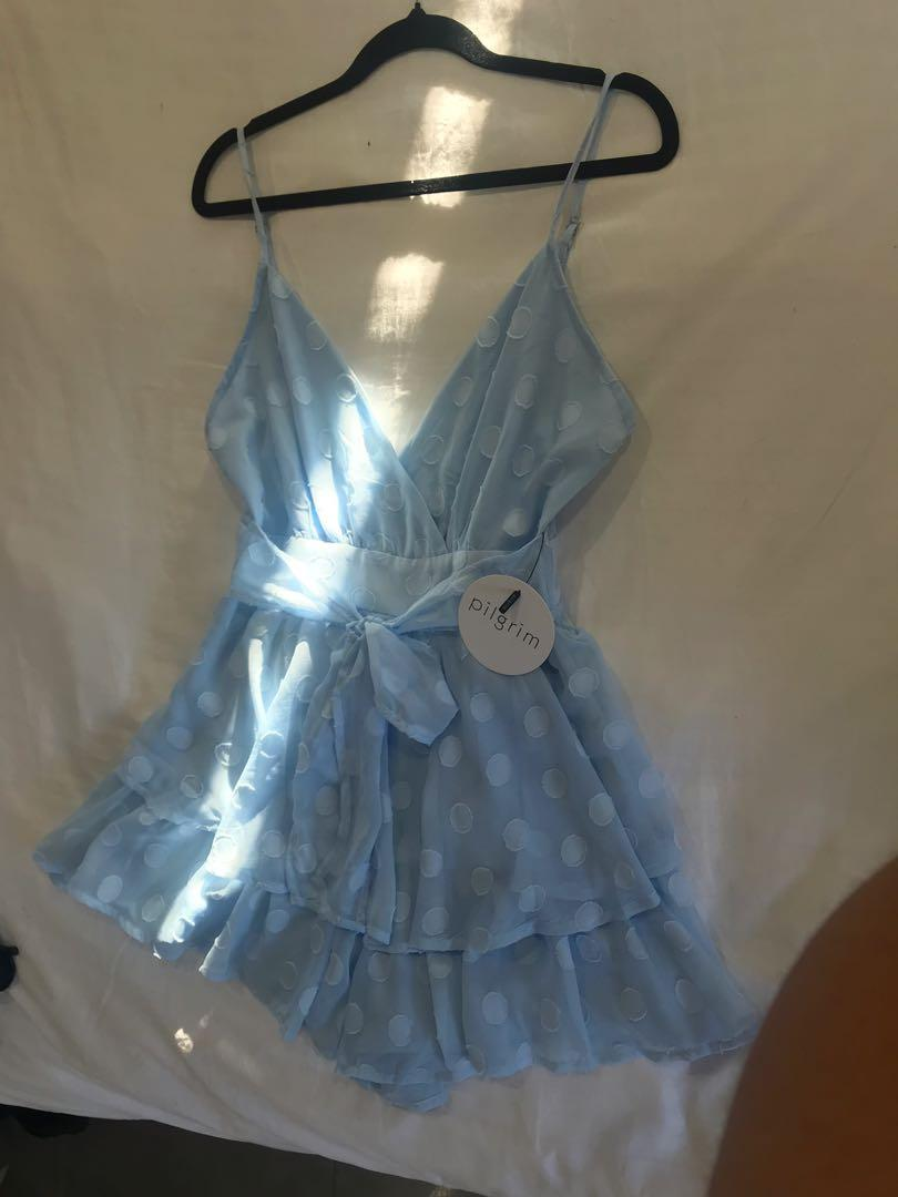 Pilgrim Macey baby blue playsuit size 10 new with tags
