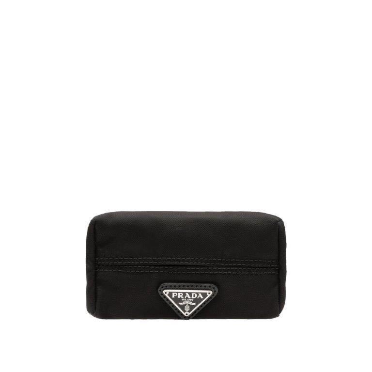 Prada Black Tessuto Nylon Tissue Holder Pouch Case Bag