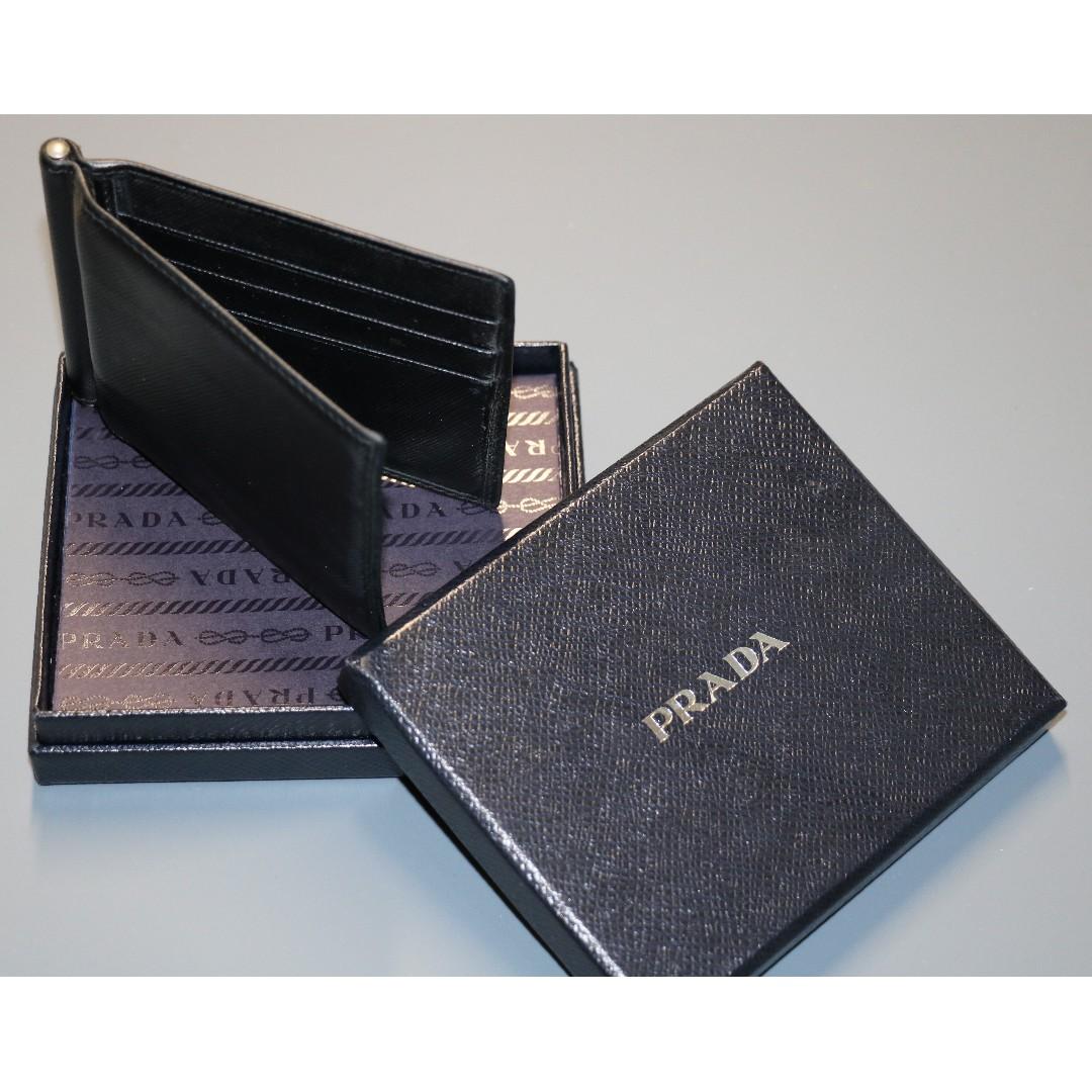 78e94a0fe3bc Prada Saffiano Men's leather money clip wallet, Luxury, Bags ...