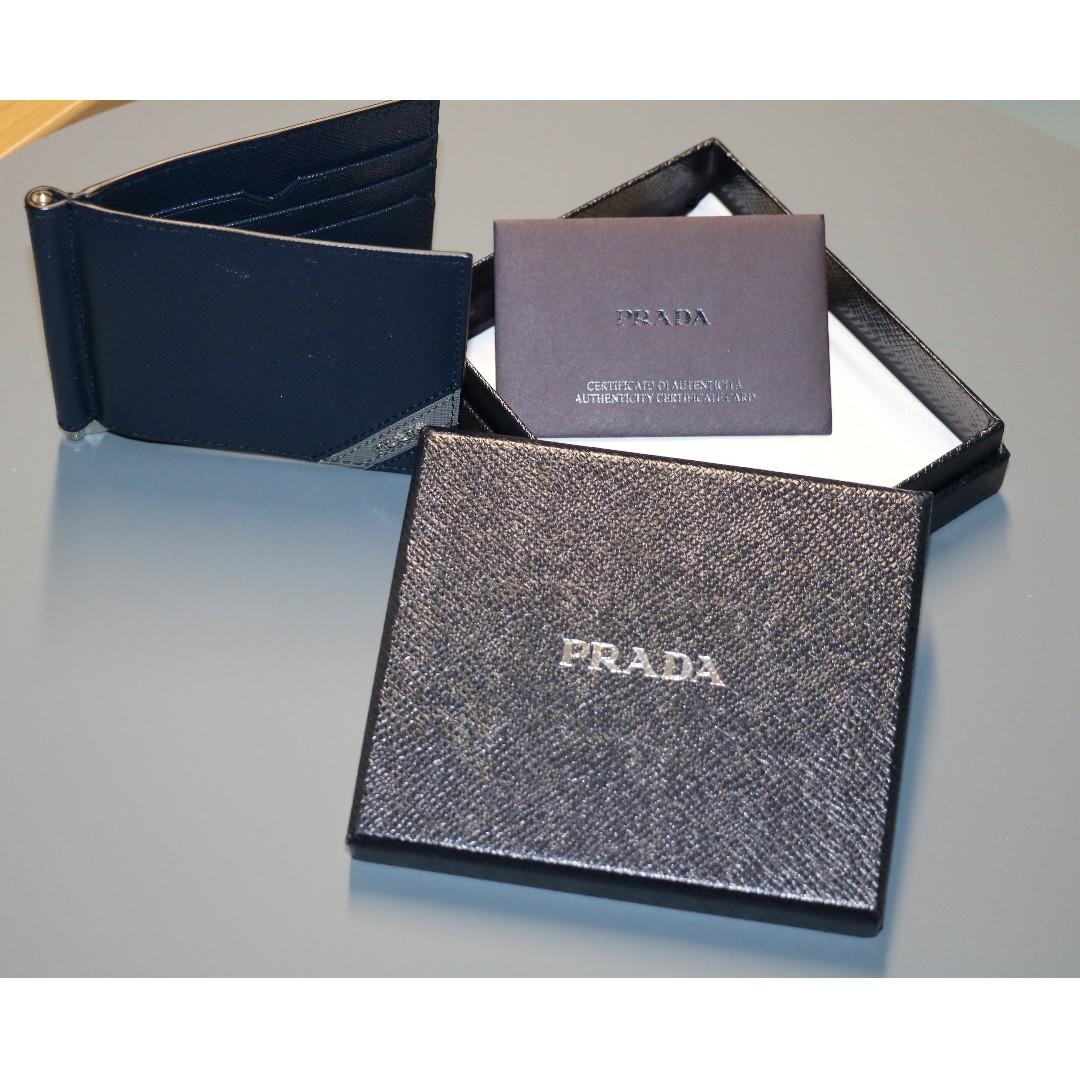 30cf45b44b4f Prada Saffiano Men s leather money clip wallet (New)