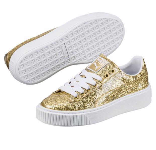 08834508 Puma Basket Platform Glitter Women's Sneakers GOLD Uk 3 36
