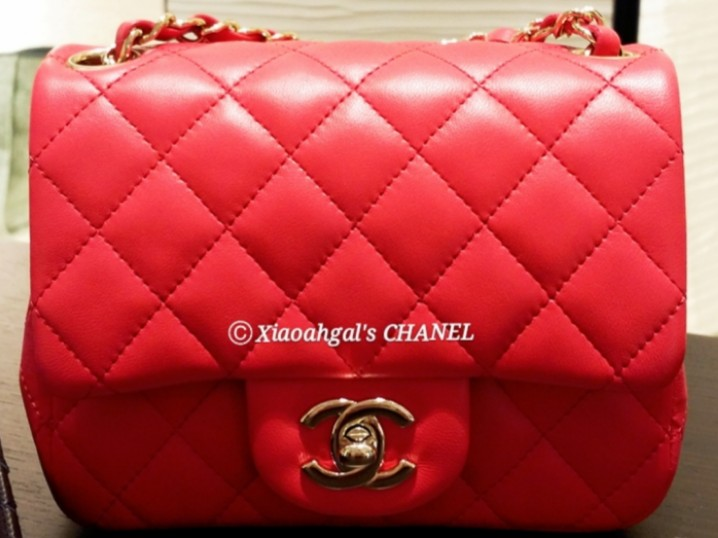 fdf130f4a400   RESERVE  •QYOP• Chanel limited edition gold hardware red mini square  quilted classic flap bag