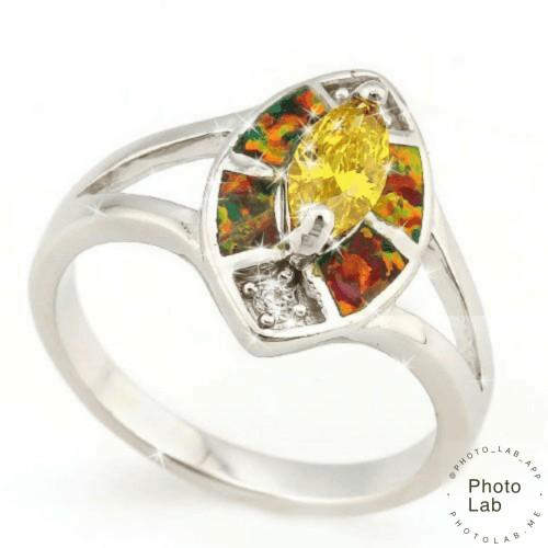 Sapphire Carat Created Fire Opal & Sterling Silver Ladies Ring.