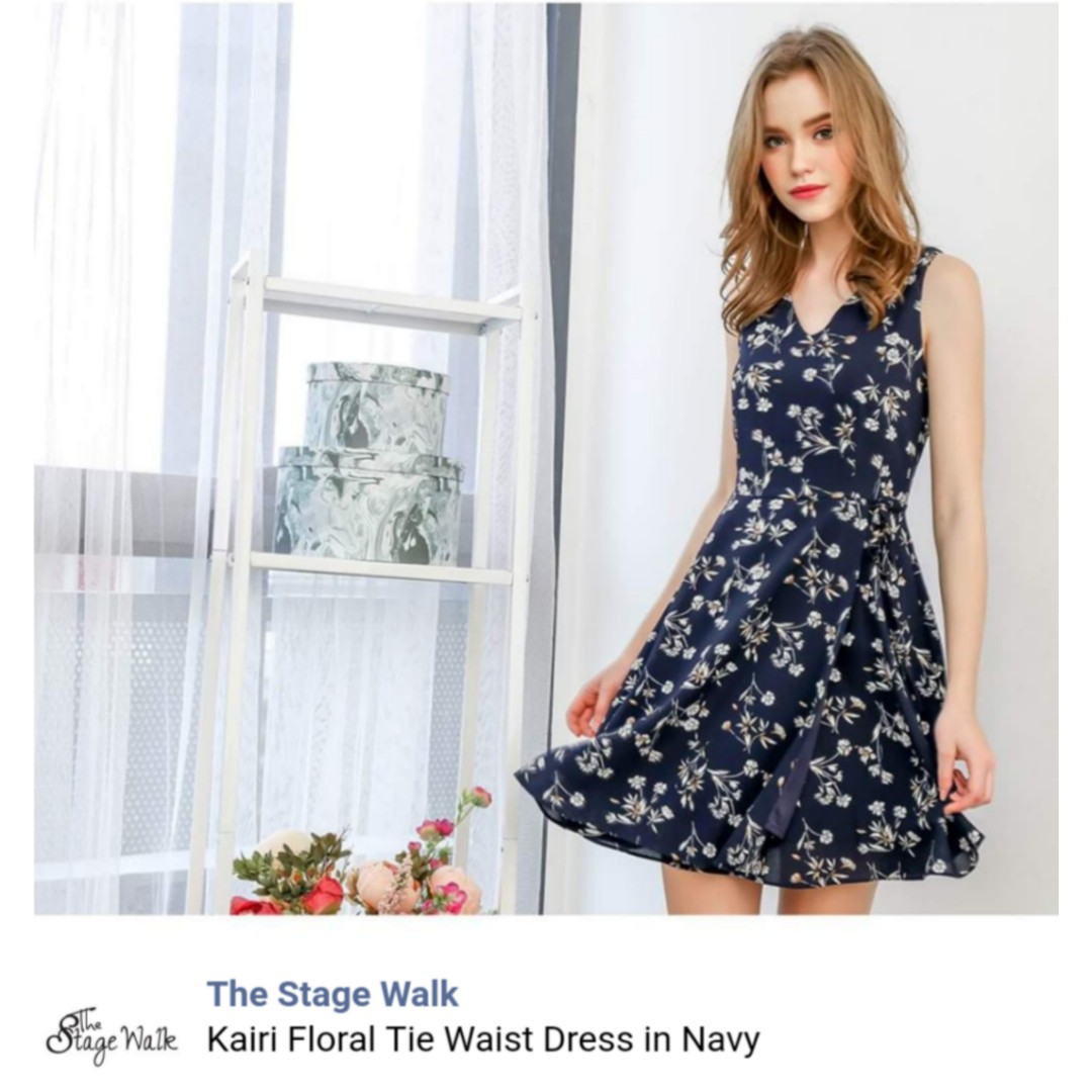 727a1b22cf3 The Stage Walk Kairi floral tie waist dress in navy