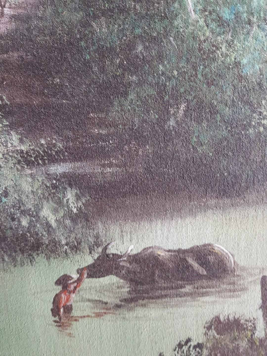 "Vintage ""Water Buffalo"" Oil Painting - Tranquillity Series"