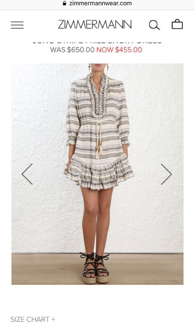 Zimmermann Juno green stripe dress, linen