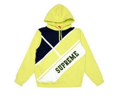 🚚 Supreme Diagonal Hooded Sweatshirt 黃色 帽TEE