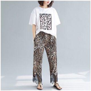 🚚 #預購#大尺碼豹紋蕾絲拼接九分褲