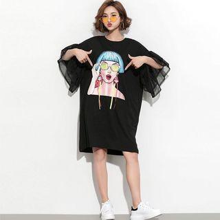 #預購#黑色喇叭袖網紗卡通印花T恤裙