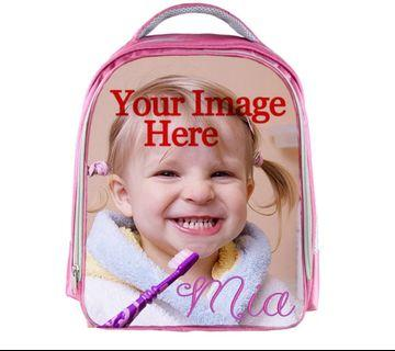 Pink School Bag Custom Print Photo and Name for Girl   Backpack Personalized