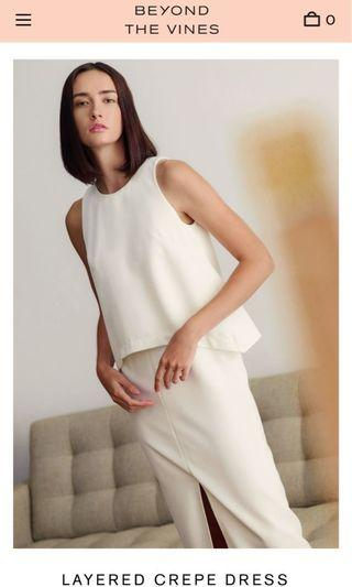 🚚 Beyond the vines layered crepe dress in white