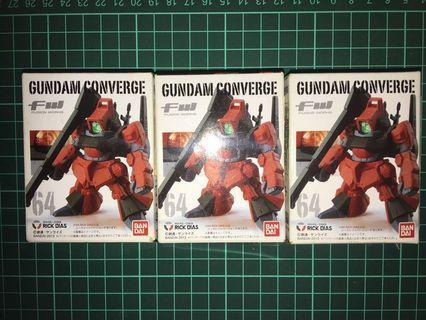 已開盒 未砌 未拆膠袋 FW Gundam Converge 64 RMS 099 RICK DIAS 3 盒 1紅 2 黑