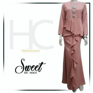 Baju Kurung Moden Ruffles Peach Purple Dusty Pink Brown (Coklat) Purple XS to 2XL
